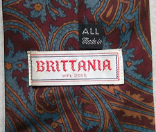 BRITTANIA ALL SILK VINTAGE WIDE TIE RETRO 1970s MOD CASUAL PAISLEY RED WINE BLUE