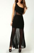 Sexy Womens Dress Black Long Cocktail Evening Formal  Rock Chick Glamourous