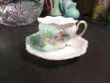 R S Prussia Demitasse Cup & Saucer Pink Roses