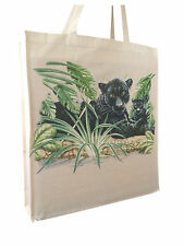 Black Panther Natural Cotton Shopping Bag Tote Long Handles & Gusset - Gift Idea