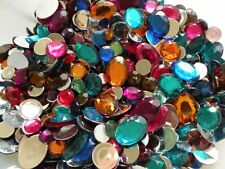 Vtg Acrylic Rhinestone Gems Mix Flat Back 3oz 7mm - 25mm Round Square Oval