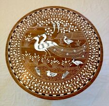 Indian Inlaid Peacock Family Design Rosewood Table