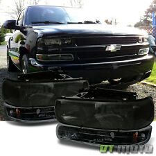[4pc ] 99-06 Silverado Tahoe Suburban Smoke Headlights+Black Bumper Signal Lamps