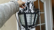 Lanterne Lustre Suspension Fer Vintage Art Deco Ancien French Porch Lantern