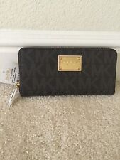 NWT Michael Kors Jet Set Travel zip around continental leather wallet BROWN