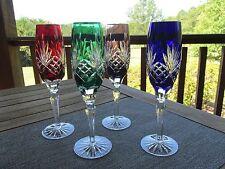 4 AJKA Crystal CHAMPAGNE FLUTES Glasses / Amethyst, Emerald, Ruby, COBALT BLUE