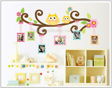 Cute Owls Tree Branch Flower Photo Frame Wall Stickers Girls Kids Wall Decals