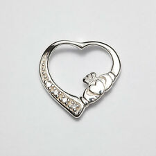 Sterling Silver Irish Handcrafted heart shape s/set claddagh pendant Code 057