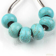 10pcs Wholesale Turquoise Round European Beads Fit Charms Bracelet Handmade J