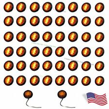 "50X 12V Mini 3/4"" Mount Amber LED Bullet Lamp Truck Trailer Side Marker US SHIP"