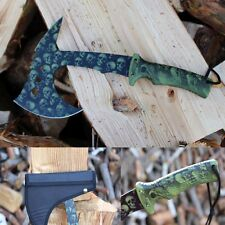 Knife Sharp tactical tomahawk axe outdoor machete steel survival SKULL Schädel