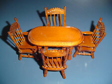 5 Pc. Dining Room Table and Chairs Wood Doll House Furniture