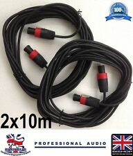 Speakon to Speakon 10m HEAVY DUTY 7mm Cable 2x10m with Red NL4fc Plugs (PAIR)