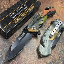 TAC FORCE Spring Assisted Fall Camo Handle Rescue Camping Hunting Pocket Knife