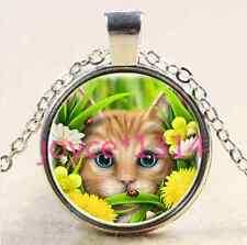 Vintage Cute cat Cabochon Tibetan silver Glass Chain Pendant Necklace #2105