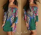 "PLUS SIZE OFF SHOULDER GREEN PINK "" MEANT TO BE "" BELL MINI DRESS TUNIC 1X 2X 3X"
