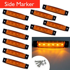 10x 12V 24V Truck 6LED Side Marker Indicator Lights Trailer Clearence Amber