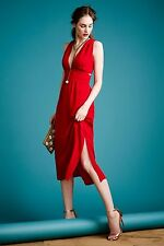 NWT Anthropologie Silk Cut Out Dress red size 4 $278 the only on ebay