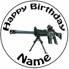 "Military Army Sniper Gun Personalised Round 8"" Icing Cake Topper - Easy Pre-cut"