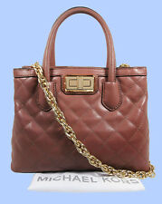 MICHAEL KORS HANNAH Dusty Rose Quilted Leather Satchel Shoulder Bag Msrp $328