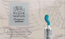 Winsor & Newton Designers Gouache Primary Color 6-Tube Paint Set 14ml NEW