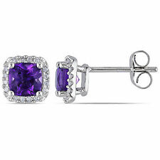 10k White Gold 1 1/3 Ct TGW Amethyst and 1/10 ct TDW Diamond Stud Earrings