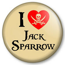 "I Love / Heart JACK SPARROW 25mm 1"" Pin Button Badge Pirates of the Caribbean"