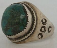 Vintage Large Native American Navajo sand cast sterling silver & Turquoise ring