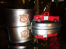 AUTHENTIC FOSSIL LIMITED EDITION  DIE CAST RED PICK UP TRUCK CLOCK IN TIN CAN