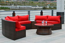 Curved Outdoor Wicker PE Rattan Sofa Lounger Patio Furniture Set Table - RED