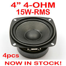 "4x 4"" 15WRMS PA DJ Speaker Subwoofer Woofer Sub Driver 4 Inch 4 Ohms Quality"