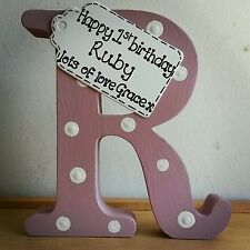 1st birthday gift personalised handmade wooden letter