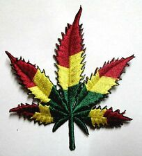 MARIJUANA HEMP LEAF RASTAFARI RASTA FLAG Embroidered Iron on Patch Free Shipping