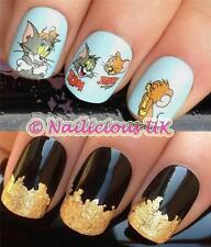 NAIL ART SET #464 TOM & JERRY FIGURES WATER TRANSFERS/DECAL/STICKERS & GOLD LEAF