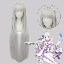 Re:Life in a different world from zero Emilia Silver White 100CM Cosplay Wig