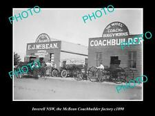 OLD LARGE HISTORIC PHOTO OF INVERELL NSW, VIEW OF THE COACHBUILDING FACTORY 1890
