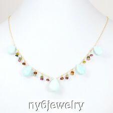 Feminine Natural Blue Moss Opal & Tourmaline Necklace with Gold Filled Clasp 18""