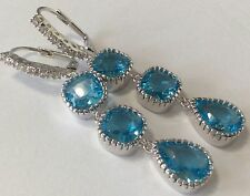 Amazing long blue topaz White Topaz Lever back earrings  925 silver