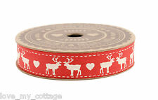 100% Cotton Reindeer Stag Heart Ribbon Gift Wrap 5m Xmas Craft Nordic Red White!