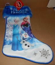 "Disney Frozen Princess Olaf Christmas Stocking Satin Blue 17"" Happy Holidays 89Q"