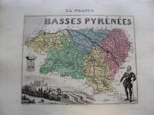 CARTE DE FRANCE EN COULEUR  DE VUILLEMIN 19 EME BASSE PYRENEES