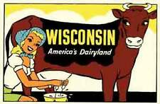 "Wisconsin   Pin-Up Girl  ""Dairyland""   Vintage-50's Style   Travel Sticker/Decal"
