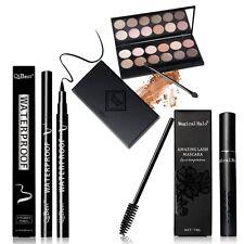 Eyeliner Mascara Shimmer Eyeshadow Palette Makeup Kit Brush Mirror Cosmetic Set