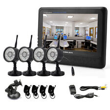 "Wireless 4CH Quad DVR 4 Cameras with 7""TFT LCD Monitor Home Security CCTV System"