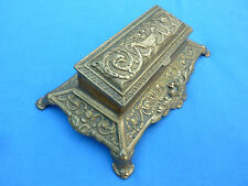 VINTAGE BRASS ART NOVEAU STYLE STAMP BOX HOLDER WITH HINGED LID CHRISTMAS GIFT