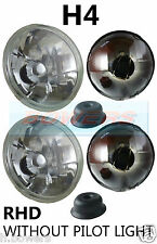 "7"" CRYSTAL LENS CLASSIC CAR HEADLAMPS HEADLIGHTS HALOGEN H4 CONVERSION NON PILOT"