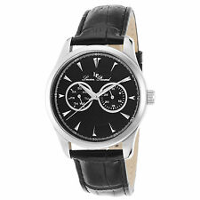 Lucien Piccard 12761-01 Nero Vera Pelle e Quadrante Men's QUARTZ WATCH