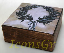 Handmade Decorative Wood Wooden Jewelry Box With the Olive Wreath / R31_3