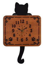 Black Kitty Cat Cute Animal Pendulum Wall Clock Art Home Decor Kawaii Tail moves