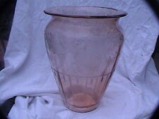 "glass vase pink etched small chip on rim 10"" x 7-1/2"""